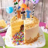 Eine lecker Geburtstagstorte mit Dekoration